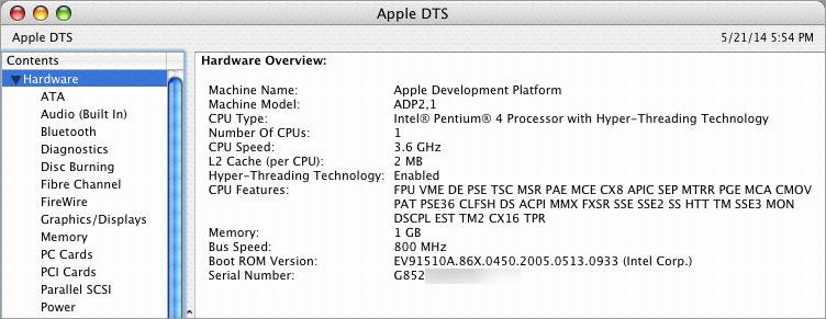 Apple DTS System Profiler